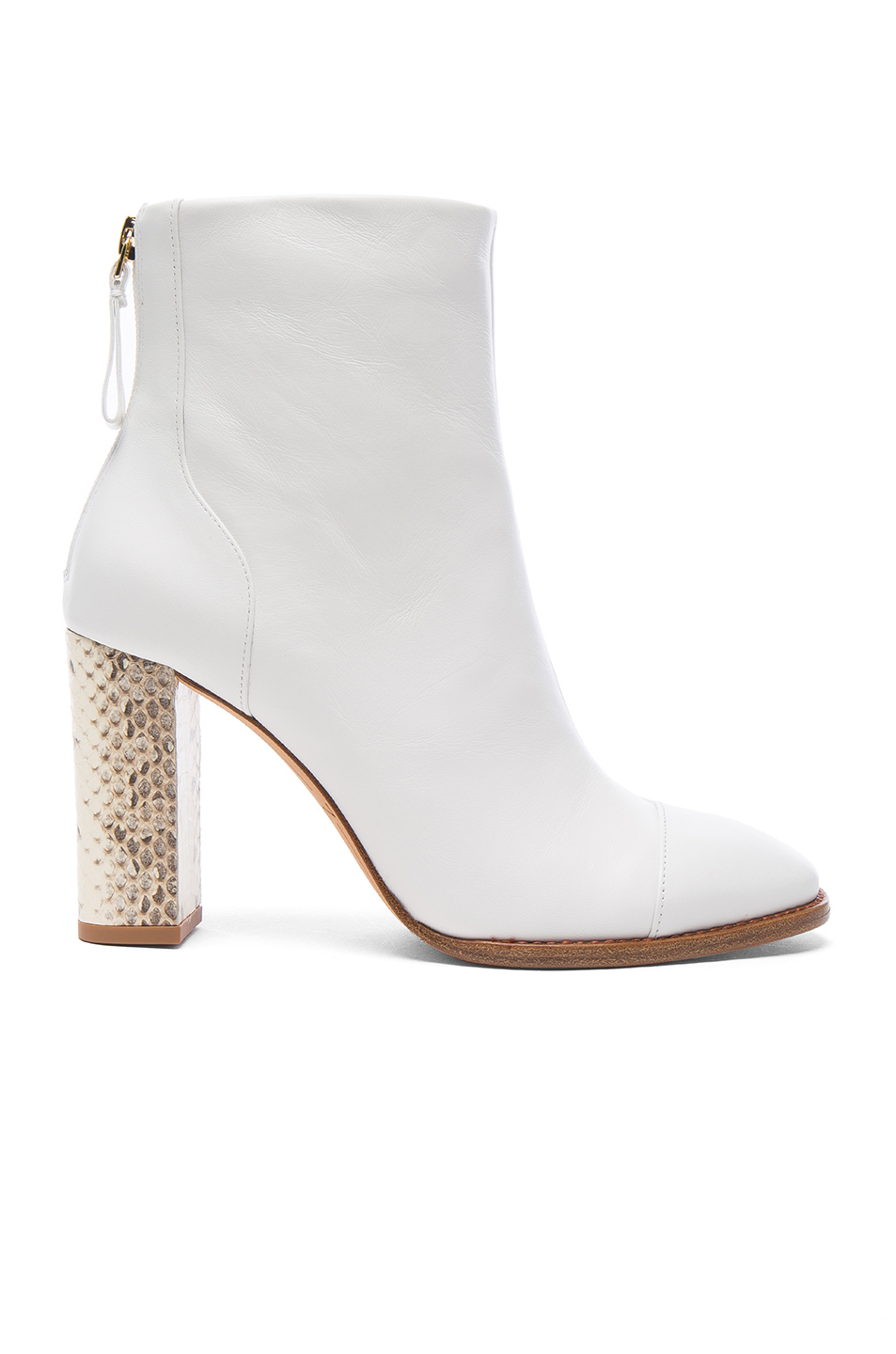 Alexandre Birman Leather Bibiana Watersnake Booties In White In White & Natural