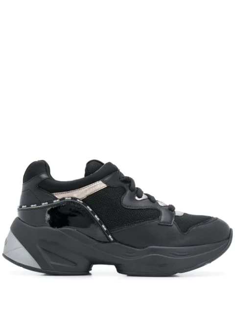 Liu •jo Chunky Lace Up Sneakers In Black