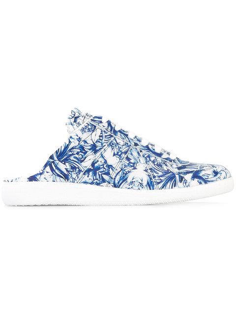 Maison Margiela Floral Leather Sneaker Slides In Multi
