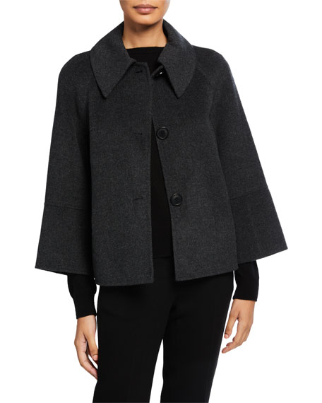 Elie Tahari Eileen Button-Front Boxy Wool Jacket In Charcoal