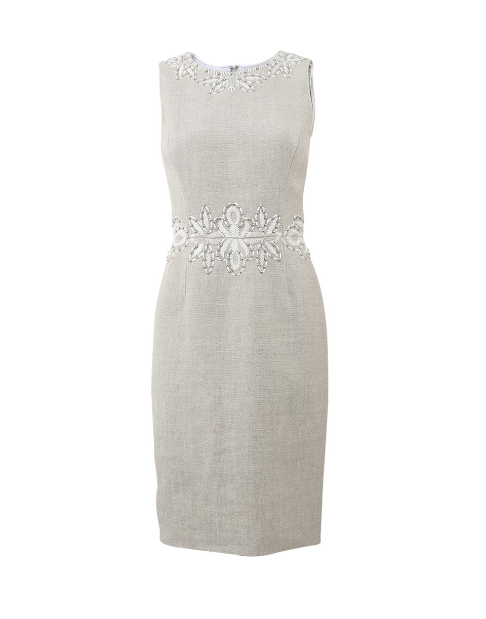 Oscar De La Renta Linen Embroidered Dress In Flax-wht