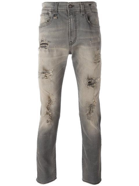 R13 Skate Shredded Skinny Jeans In Grey