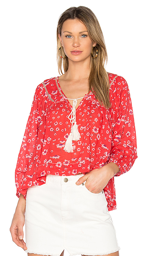 Free People Never A Dull Moment Peasant Blouse In Red