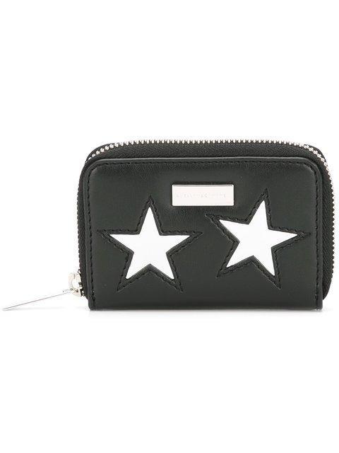 Stella Mccartney Lame Stars Faux Leather Coin Purse - Black