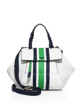 a00d38d191d8 Tory Burch  Half-Moon  Small Stripe Print Leather Satchel In New Ivory