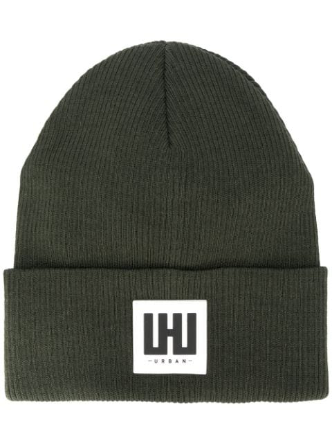 Les Hommes Urban Logo Patch Beanie Hat In 3100 Olive