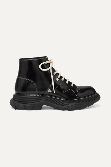 Alexander Mcqueen Contrast Stitching Chunky Outsole Patent Leather Combat Boots In Black