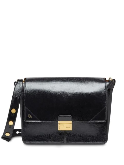 Fendi Large Kan U Shoulder Bag In Black