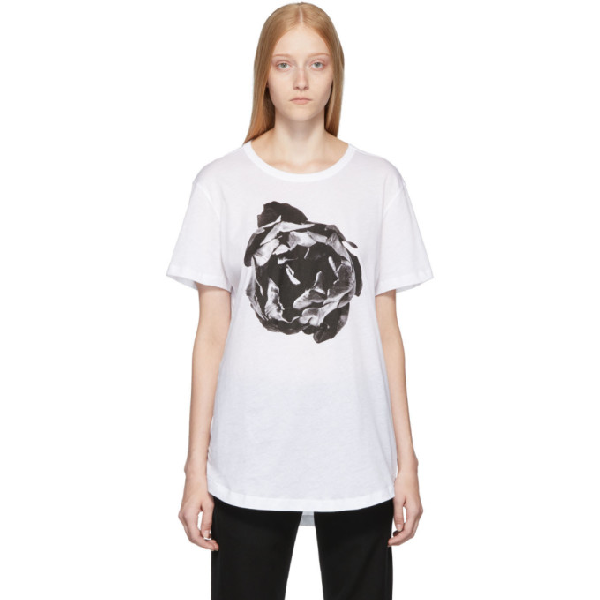 Ann Demeulemeester Floral Print T-shirt In White/black