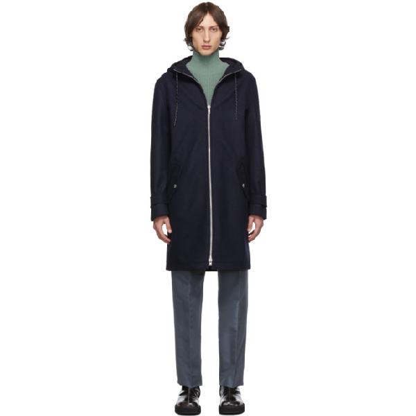 Kenzo Navy Wool Nylon Hooded Coat In 76 Navy