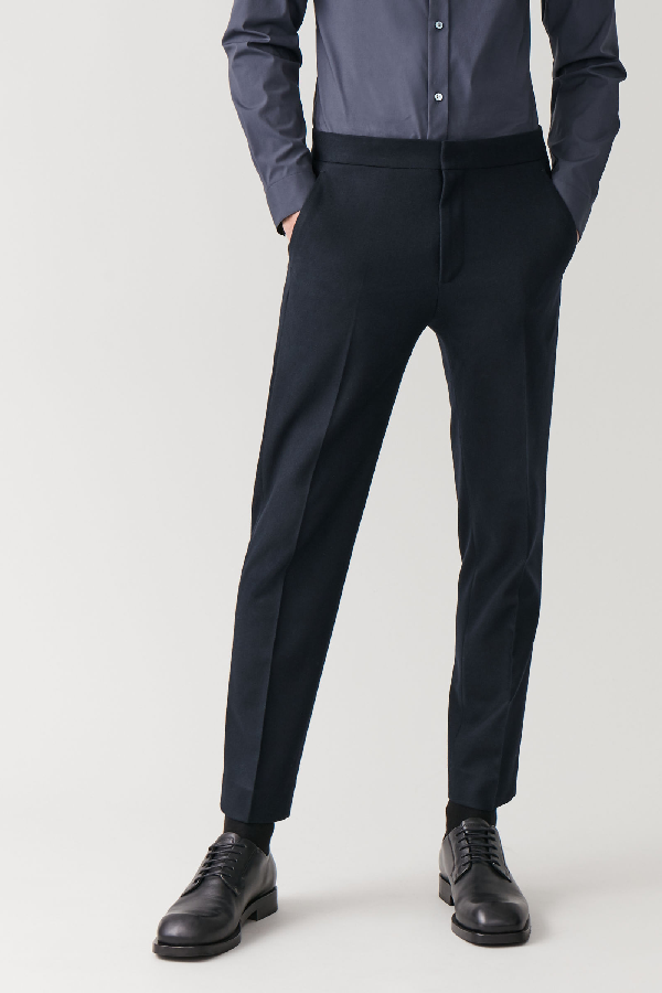 Cos Straight-leg Wool-cashmere Pants In Blue