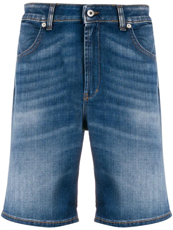 Dondup Knee-length Denim Shorts In Blue