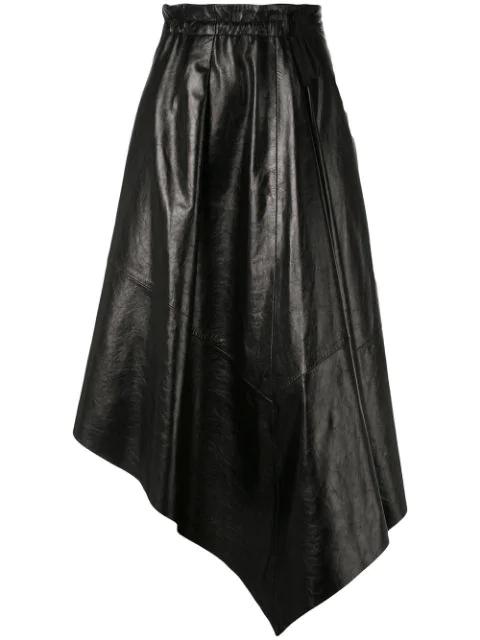 Proenza Schouler Asymmetrical Leather Skirt In Black
