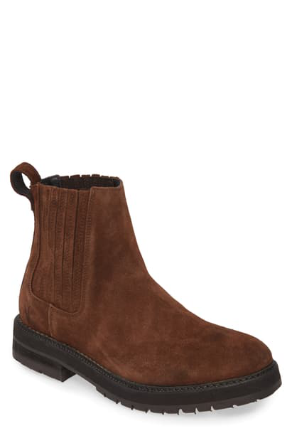 Allsaints Noble Suede Chelsea Boots In Bitter Chocolate