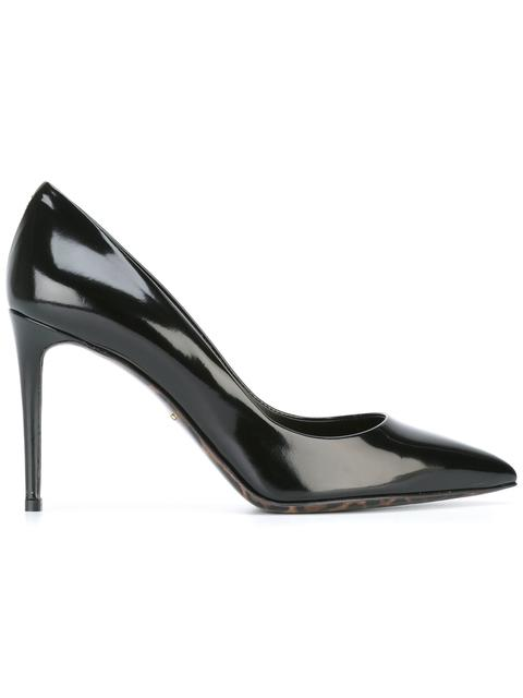 Dolce & Gabbana Patent Leather Pumps With A Leopard Print Sole In Llack