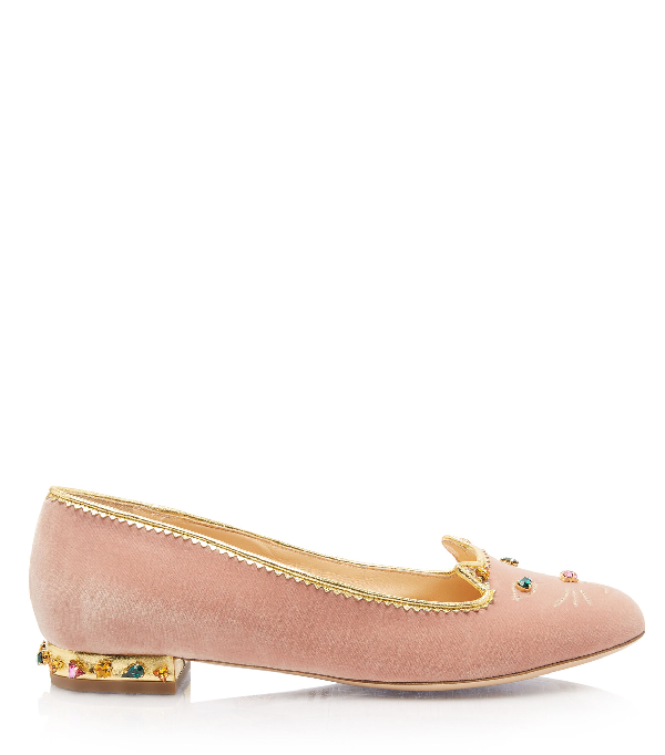 Charlotte Olympia Women's Fabri Embellished Kitty Flats In Petal Pink&Multicolor