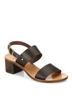 Ancient Greek Sandals Lefki Leather Block Heel Slingback Sandals In Dark Brown