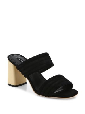 Alice And Olivia Colby Suede Block Heel Slide Sandals In Black