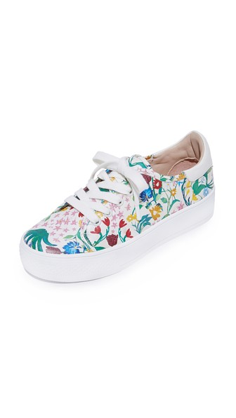 e97426ba0182 Alice And Olivia Pemton Floral-Print Nappa Leather Platform Sneakers ...