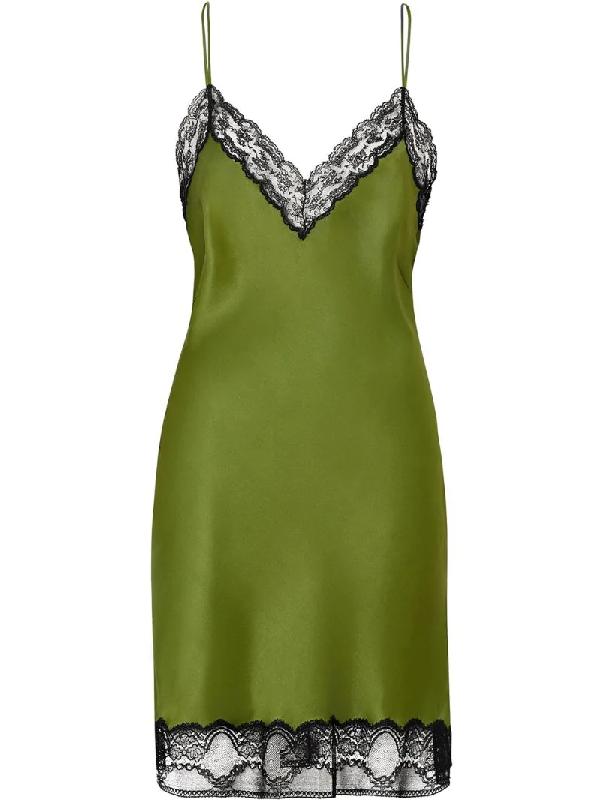 Burberry Lace-trimmed Silk-satin Mini Dress In Green
