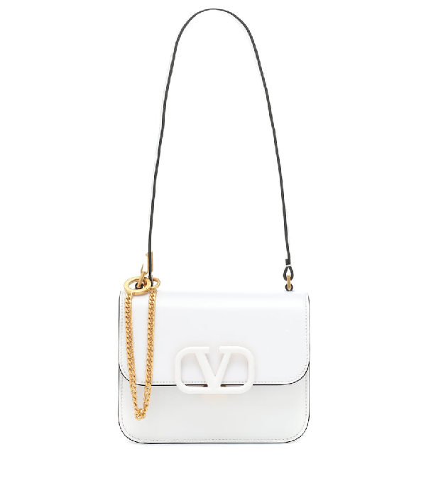 Valentino 'Vsling' Small Leather Shoulder Bag In White