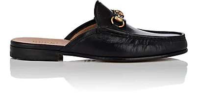 Gucci Open Roos Horsebit Leather Backless Loafers In Black
