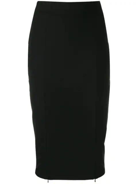 Murmur Zip-up Fitted Skirt In Black