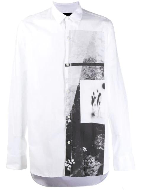 Ann Demeulemeester Hemd Mit Grafischem Print In White