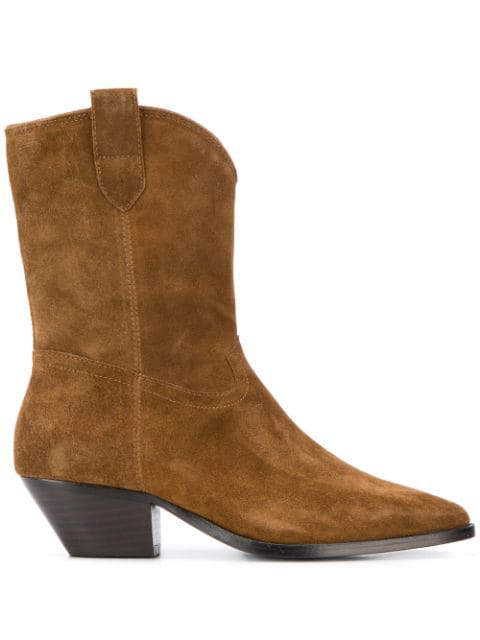 Ash Foxy Texan Ankle Boots In Leather Color Suede In Brown