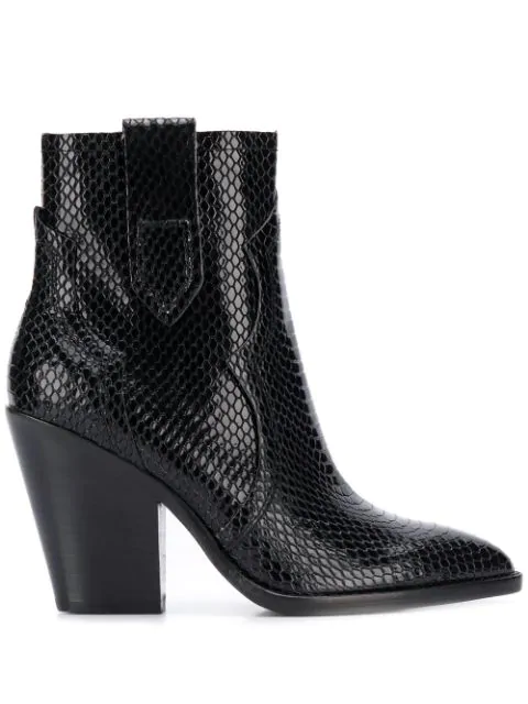 Ash Esquire High Heels Ankle Boots In Black Leather