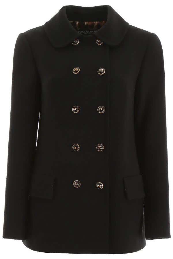 Dolce & Gabbana Buttoned Coat In Black