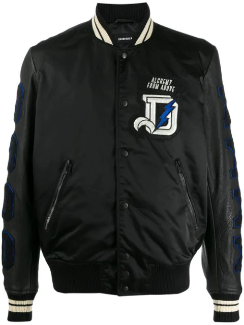 Diesel Embroidered Patch Bomber Jacket In Black