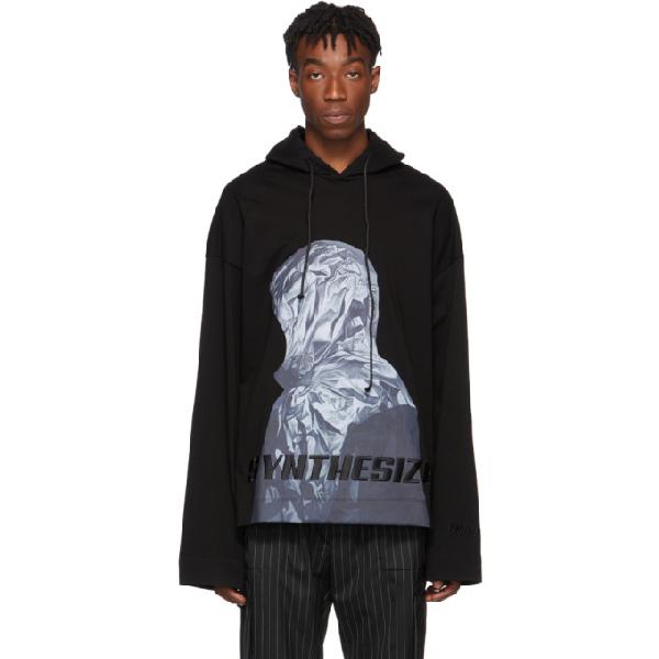 Juun.j Hooded Print Cotton Jersey Ls T-shirt In 5 Black