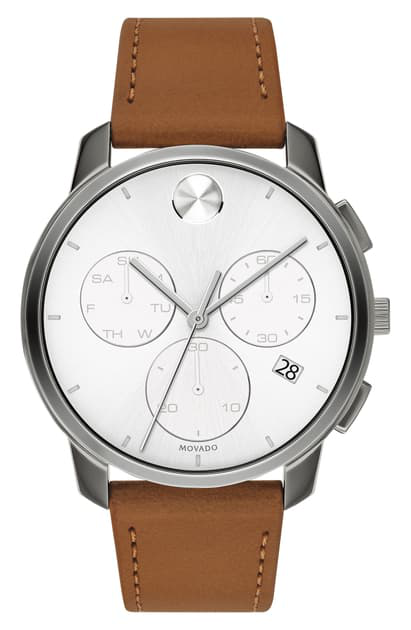 Movado Bold Chronograph Leather Strap Watch, 42mm In Cognac/ White/ Gunmetal