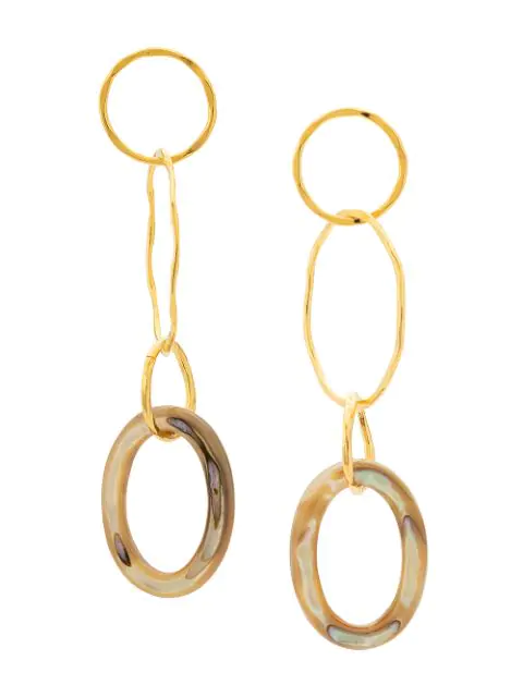 Lizzie Fortunato Lake City Earrings In Abalone In Gold