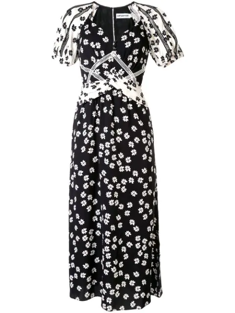 Self-portrait Floral Midi Dress In Black