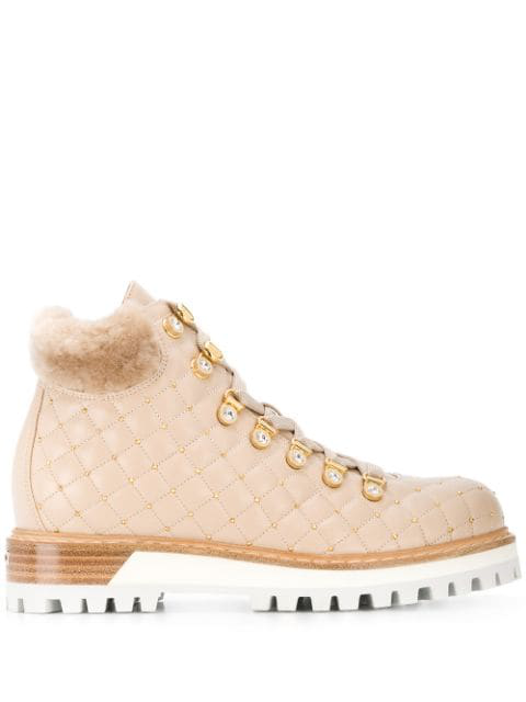 Le Silla Stud Embellished Trekking Boots In Neutrals