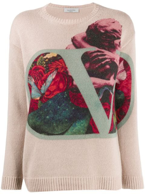 Valentino Graphic Print Jumper In Pink