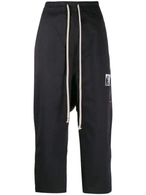 Rick Owens Drkshdw Patchwork Drop-Crotch Crop Trousers In 09 Black