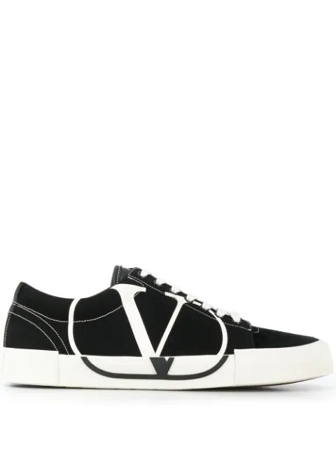 Valentino Garavani Vlogo Low Top Canvas & Suede Sneakers In Black