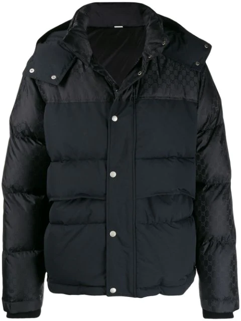Gucci Gg Jacquard Hooded Padded Jacket In Black In 1000