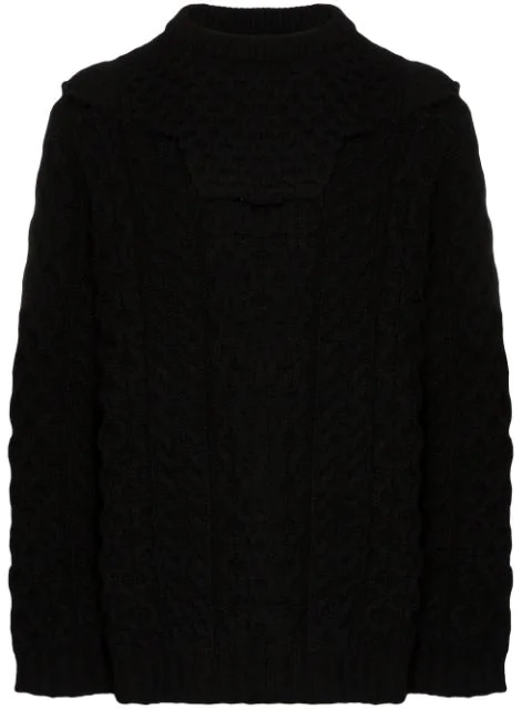 Raf Simons Aran Knit Sweater With Detachable Collar In Black In 00099  Black