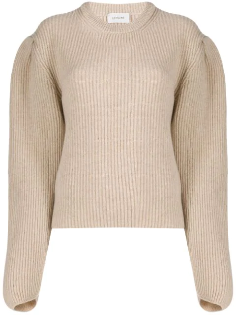 Lemaire Pleated Shoulders Jumper In Neutrals