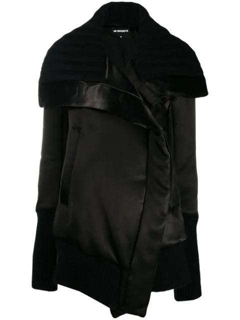 Ann Demeulemeester Sweater Accent Oversized Coat In Black