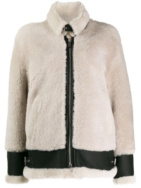 Barbara Bui Zipped Shearling Jacket In Neutrals