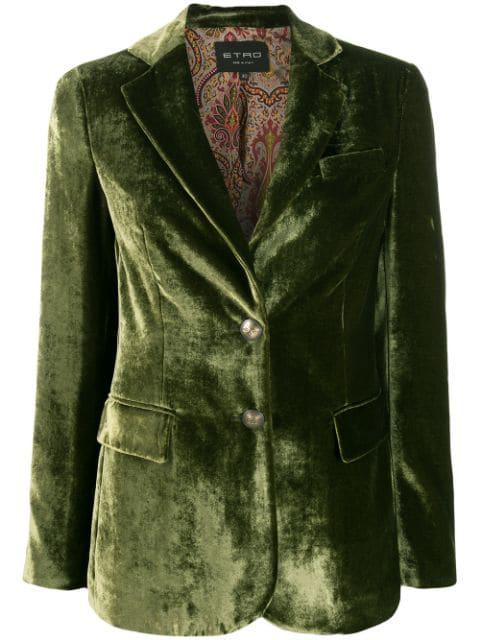 Etro Single-breasted Blazer In Green