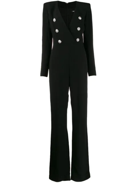 Balmain Double-breasted Jumpsuit In Black