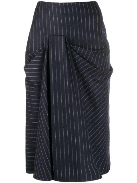 Alexander Mcqueen Ruched Midi Skirt In Blue