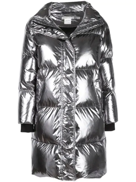 Alice And Olivia Julian Oversized Padded Coat In Silver