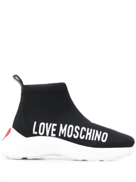 Love Moschino Hi-top Logo Sneakers In Black